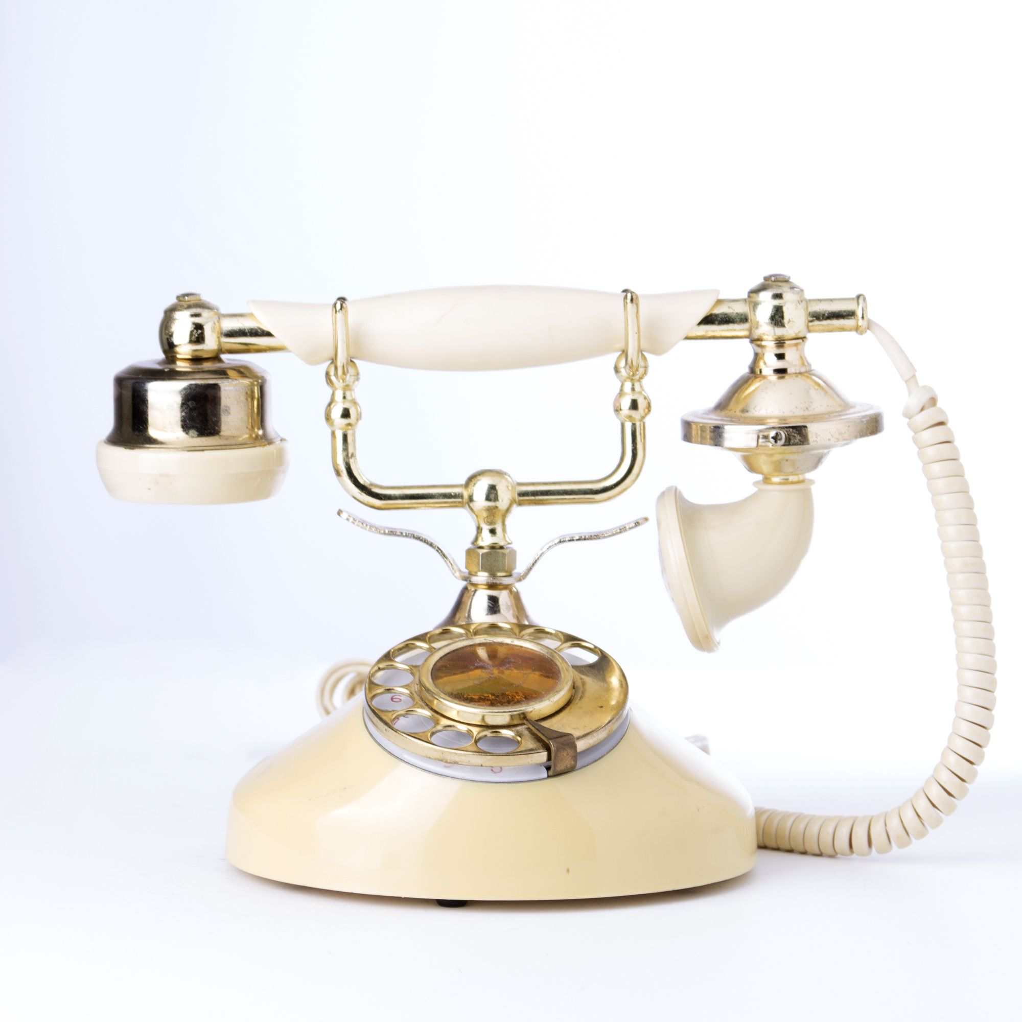 Vintage Ivory & Gold French-Styled Rotary Princess Telephone w/ Cords $40