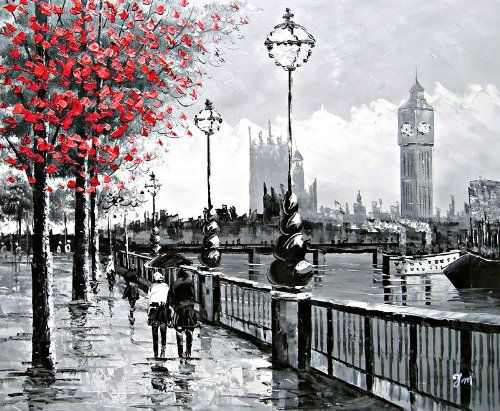 View of london big ben from the south bank by the river thames large fine art oil on canvas painting superb quality and craftsmanship hand made wall