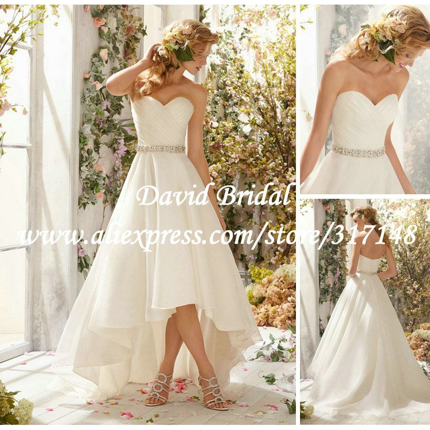Affordable Simple High Low Wedding Dresses 2014 A Line Sweetheart Western Country I Am Kind Of
