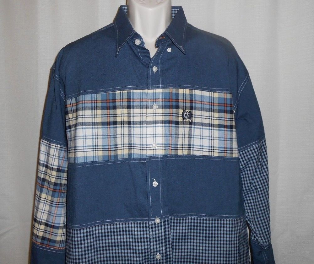 CINCH Denim Plaid Shirt Men Size XXL 2XL Western Cowboy Blue Long Sleeve #Cinch #ButtonFront