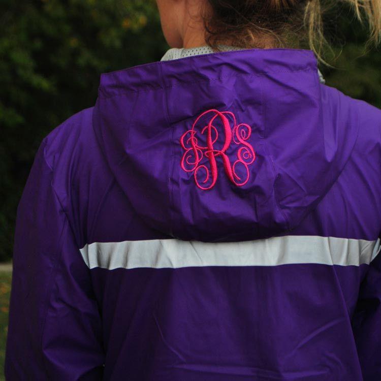 Hood Monogram on New England Rain Jacket