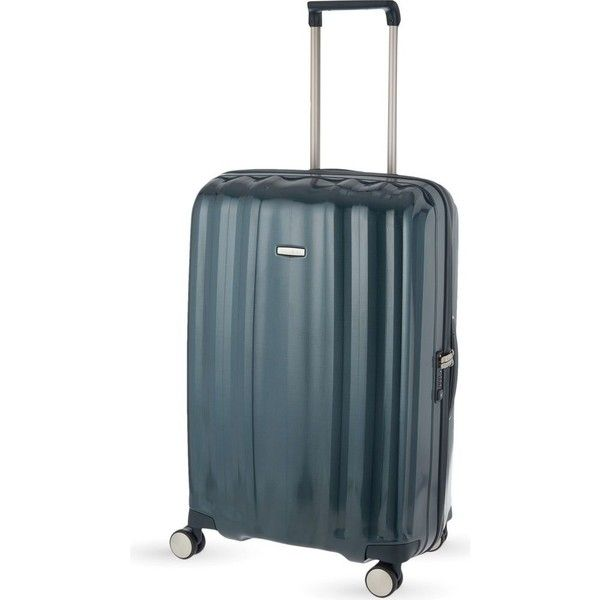 Samsonite Lite-Cube four-wheel suitcase 76cm ($425) ❤ liked on Polyvore featuring bags, luggage and dark green