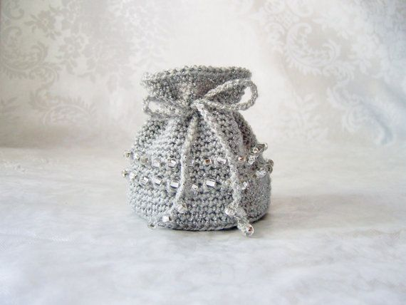 Crochet Coin Purse or Jewelry Bag  Silver with Czech by lukesmom6, $20.00