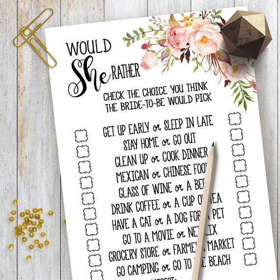 picture relating to Would She Rather Bridal Shower Game Free Printable named Would She As a substitute Sport Bridal Shower recreation printable Marriage ceremony