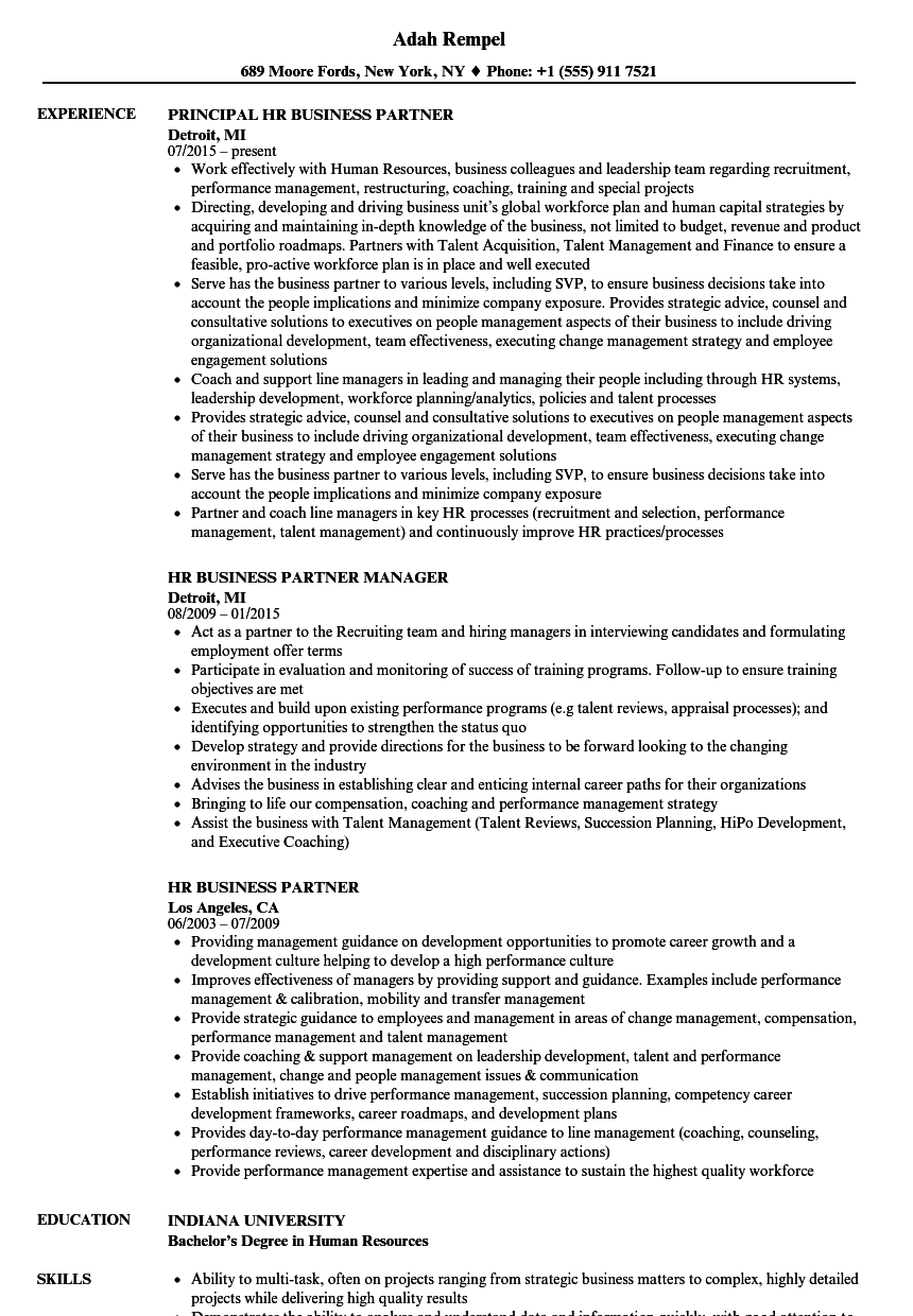 Business Analyst Roles And Responsibilities Resume Fresh Hr Business Partner Resume Samples Job Resume Examples Resume Skills Job Resume Samples