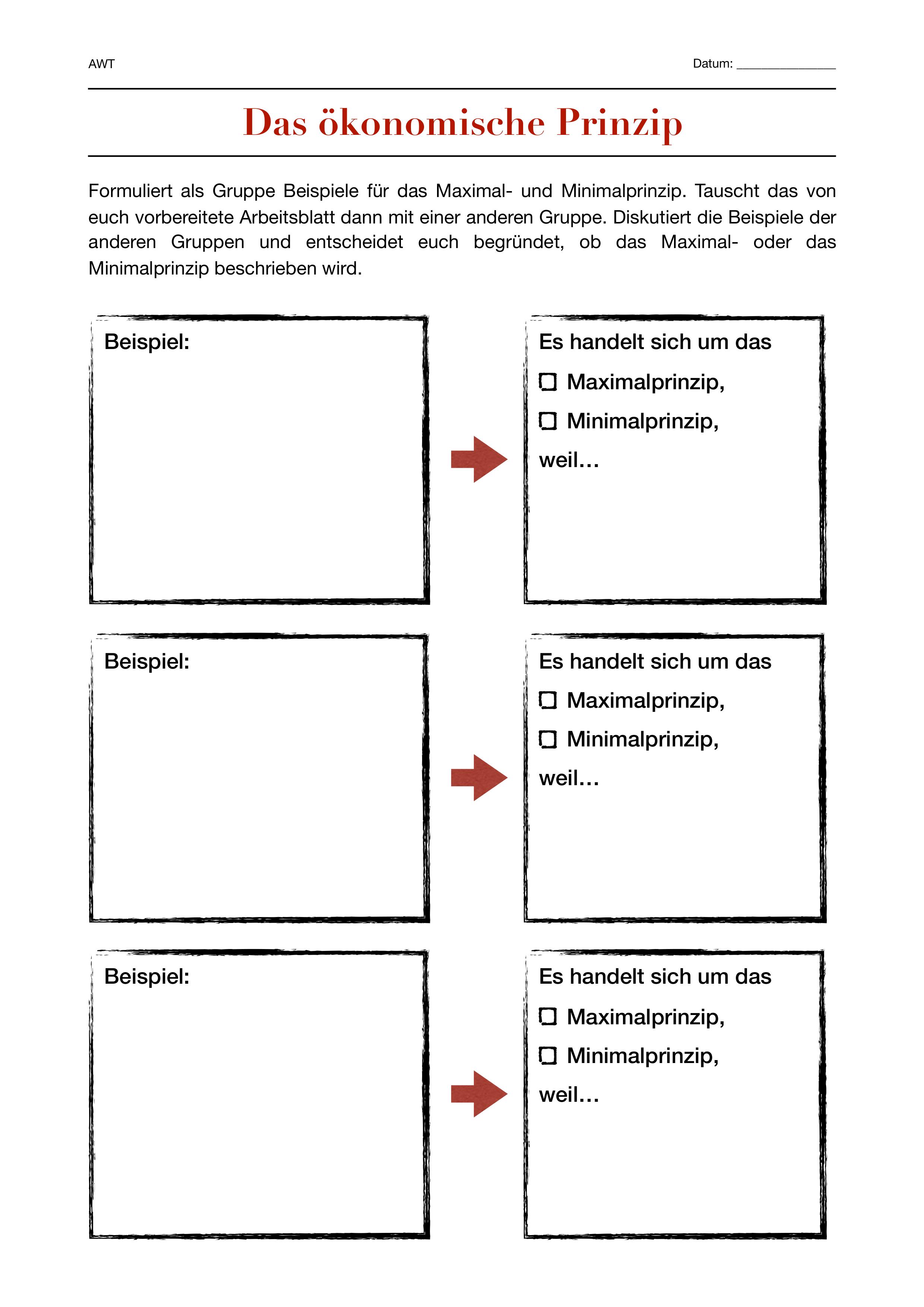 Das Okonomische Prinzip Unterrichtsmaterial Im Fach Wirtschaft In 2020 Prinzipien Kenntnisse Unterrichtsmaterial
