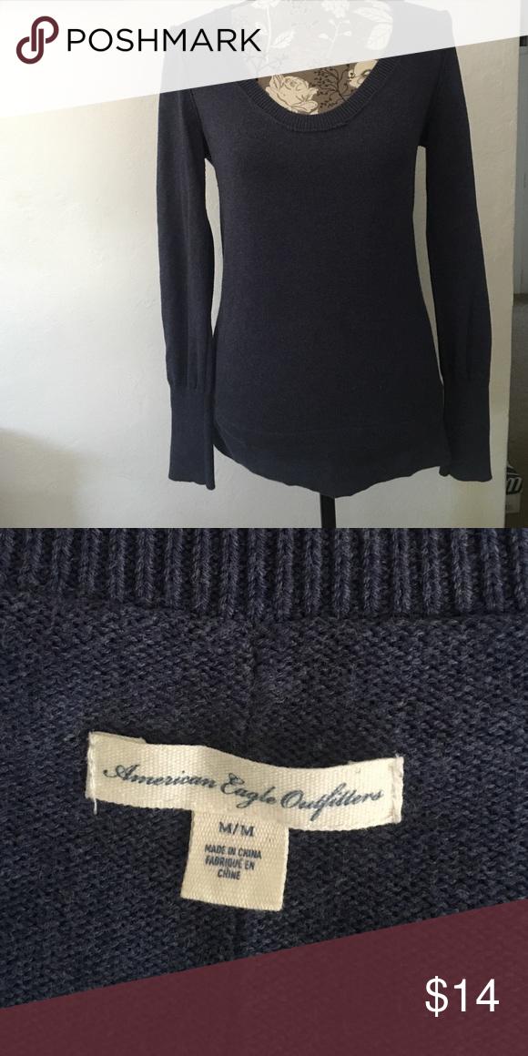 Navy blue American Eagle sweater Navy blue knit sweater, great condition. American Eagle Outfitters Sweaters Crew & Scoop Necks