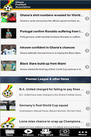 The Official Ghana Football Association App brings you all the latest information on Ghana football wherever you may be. <br>This powerful   and enhanced app offers you a better mobile experience bringing you closer to the Ghana Football Association (GFA).<br>Get all the latest news first, videos, fixtures, match reports, live match commentary and much more.<p><br>*Features*<br>- News – official Ghana Football Association (GFA) news as it happens.<br>- Fixtures, results and league…
