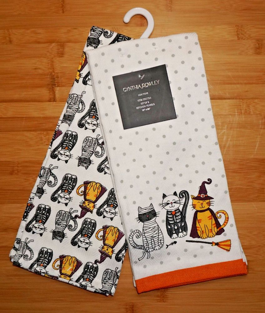 NWT ~ CYNTHIA ROWLEY ~ SET of 2 ~ CATS ~ HALLOWEEN KITCHEN TOWELS ...