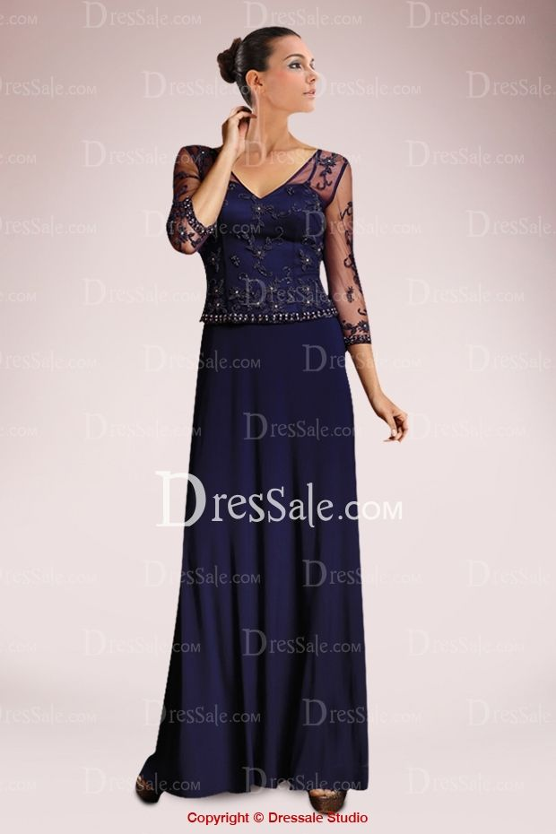 Elegant Column Mother of the Bride Dress with Elaborate Lace