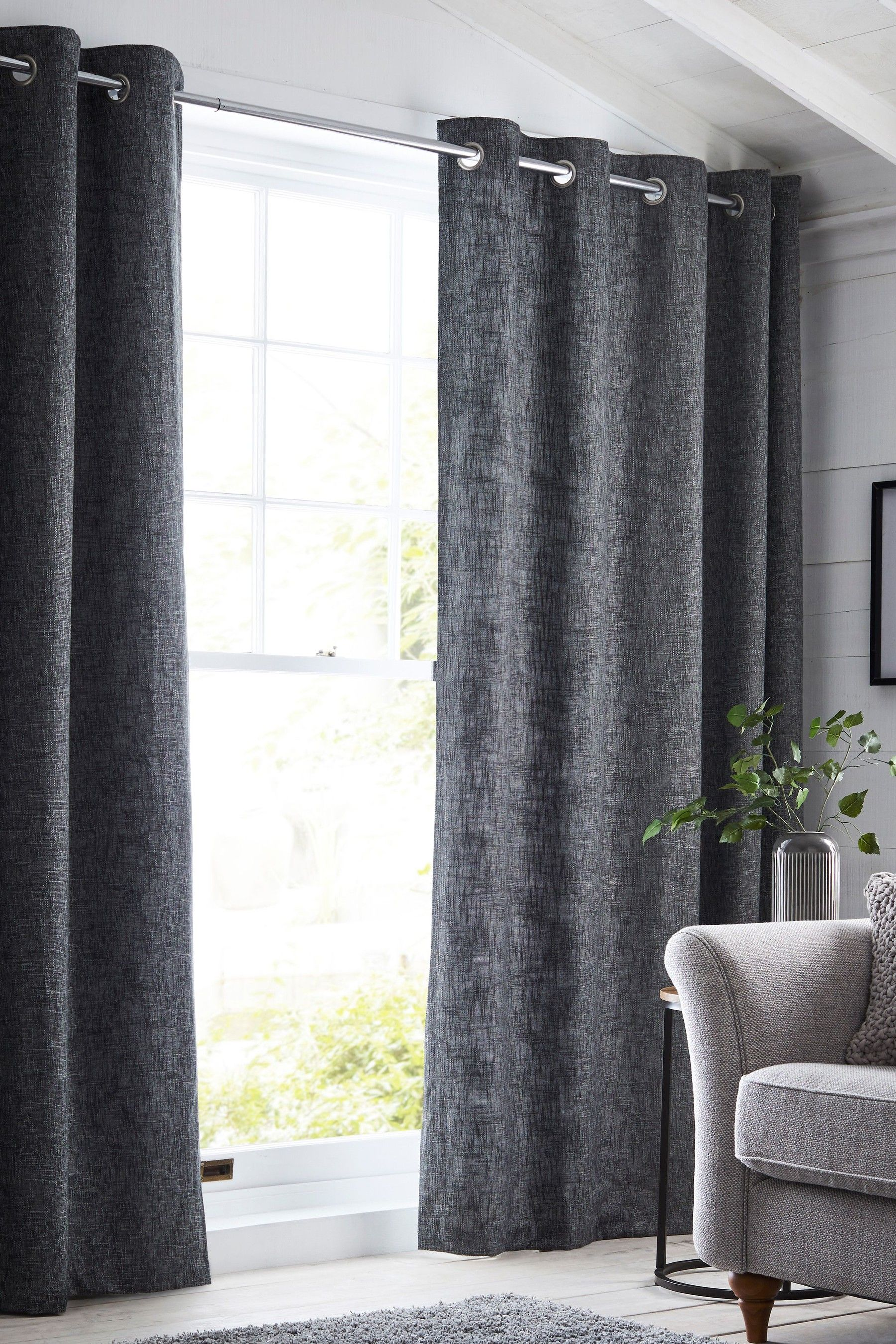 Next Boucle Eyelet Lined Curtains Grey With Images Thermal Curtains Grey Curtains Living Room Curtains #thermal #living #room #curtains