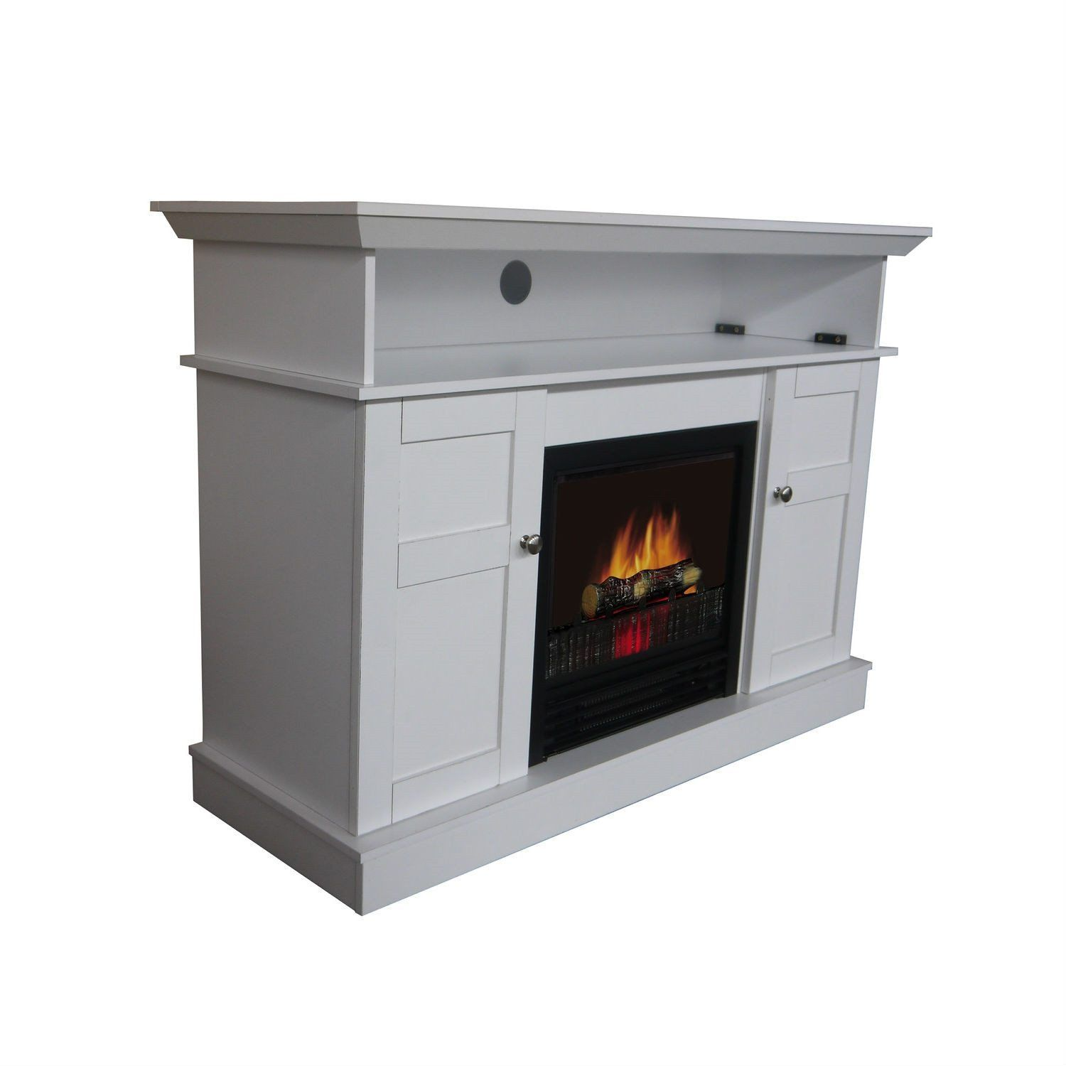 White Electric Fireplace Space Heater TV Stand Cabinet Home Sweet