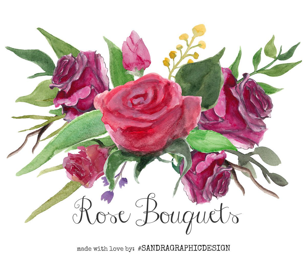 """New to SandraGraphicDesign on Etsy: Floral clip art: """"ROSE ..."""