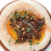 Hummus with Hen of the Woods Mushrooms Hummus with Hen of the Woods Mushrooms with Pine Nuts Extra Virgin Olive Oil Canola Oil Sliced Mushrooms Hen of the Woods Kosher Sa...