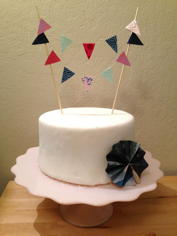 Decorative Pink & Blue Cake Banner Topper by daintydesignsbyjess, $8.00