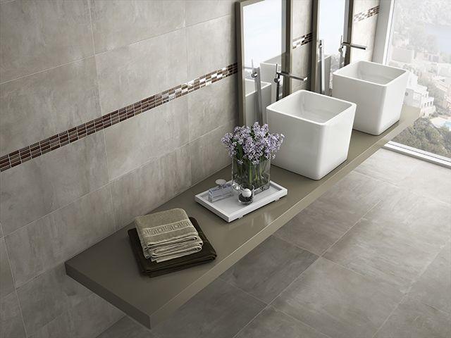 Ba o pavimento y revestimiento porcel nico imitando - Pavimentos para banos ...