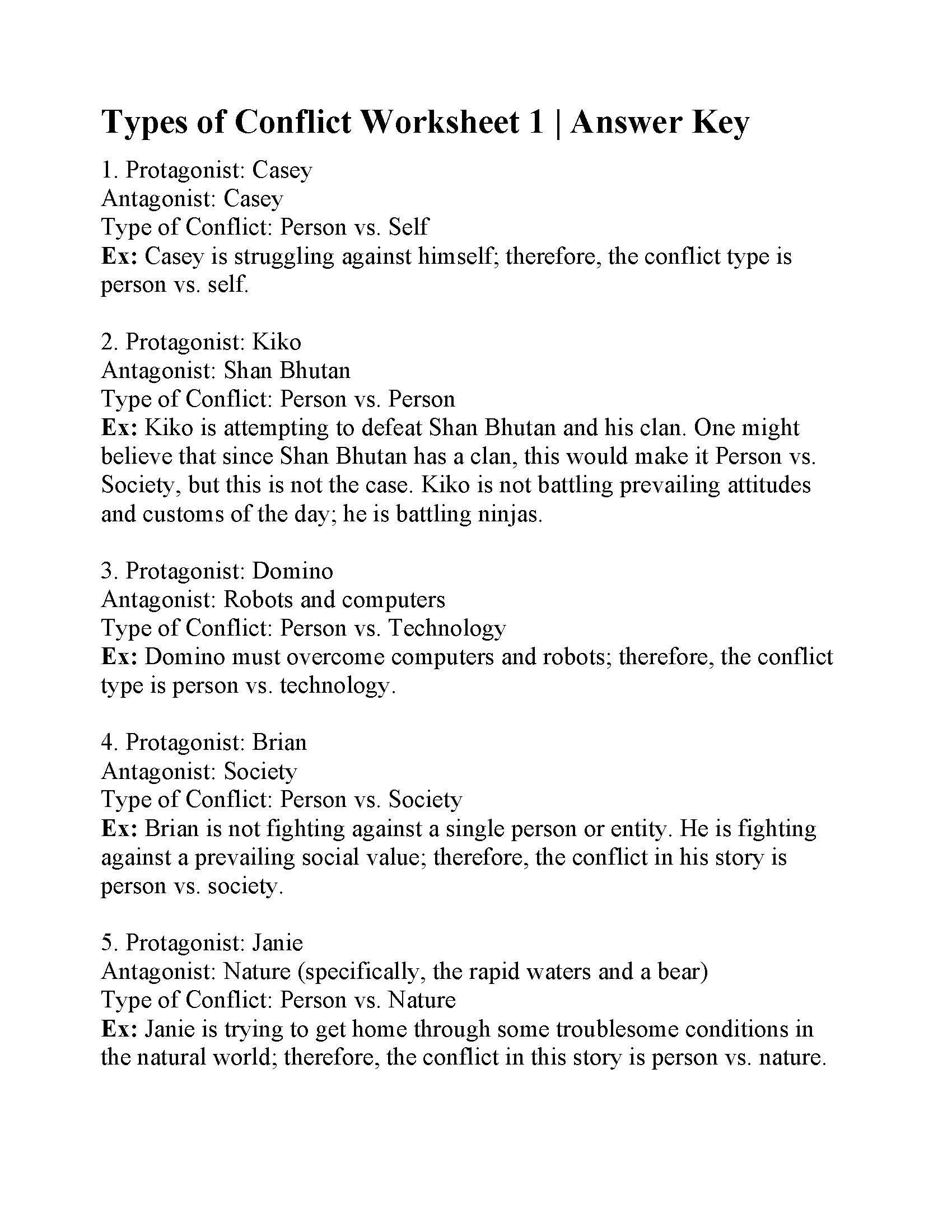 Protagonist And Antagonist Worksheet Types Of Conflict