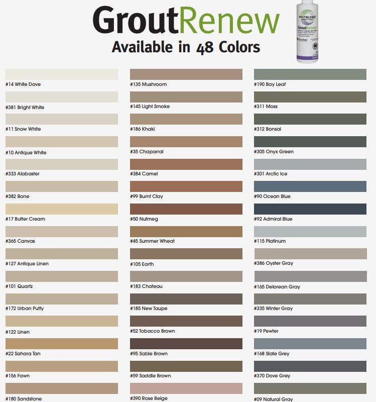Polyblend grout renew color chart bathroom remodels pinterest