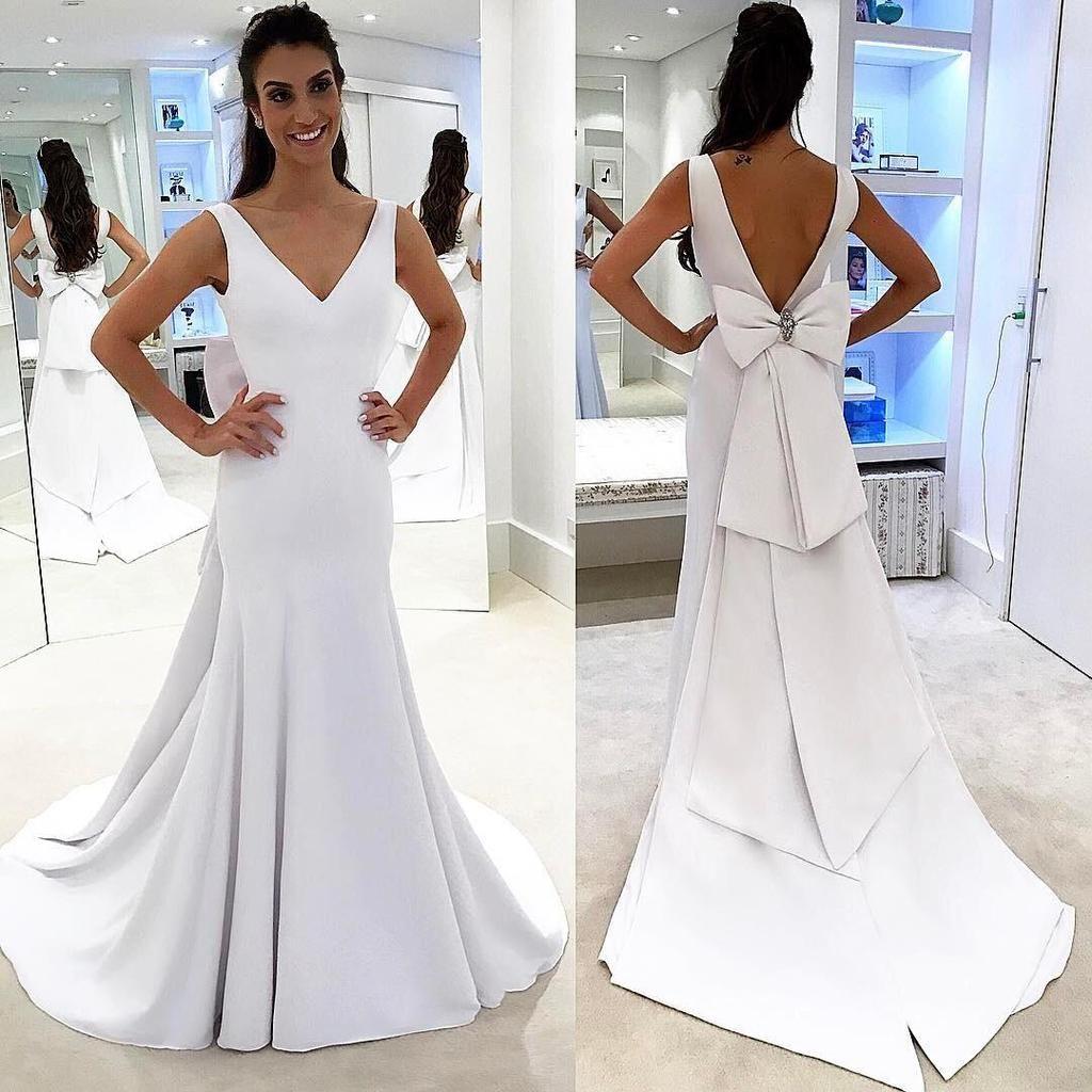 Elegant simple vback wedding dress wedding dresses in
