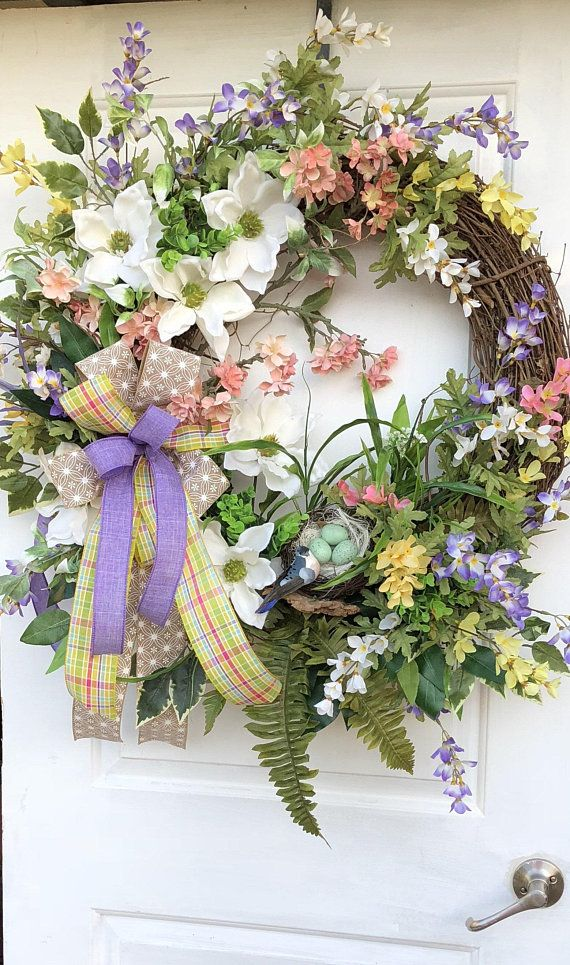 Photo of Spring Wreath, Mother's Day Wreath, Sassy Doors Wreath, Spring Front Door Wreath, Summer Wreaths, Shabby Chic Wreath