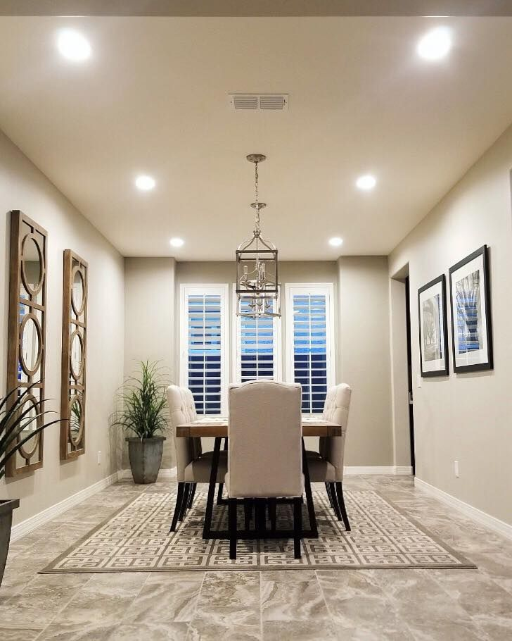 Actual this space has both windows and recessed lighting