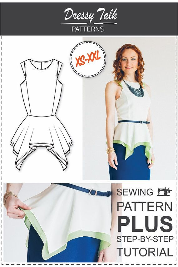Peplum Top Pattern - PDF Sewing Pattern | Fashion | Pinterest ...