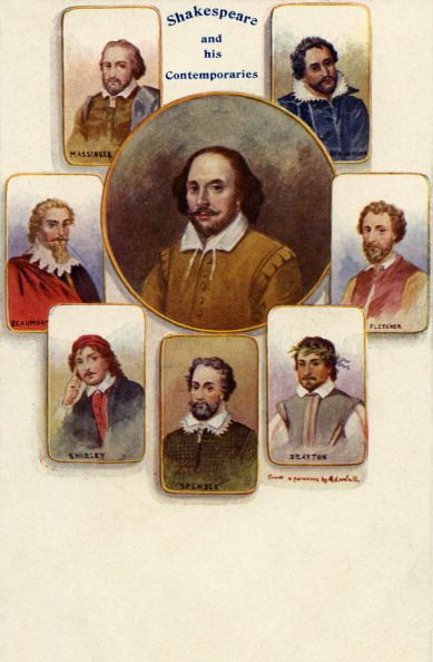 William Shakespeare and his contemporaries. : Massinger, Beaumont, Shirley, Spenser, Drayton, Fletcher, Ben Jonson. English poet and playwright baptised 26 April 1564 – 23 April 1616.  (Photo by Culture Club/Getty Images)