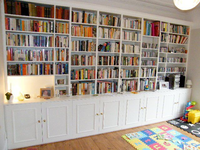 Full Wall Bookshelves Build Plans Cabinets