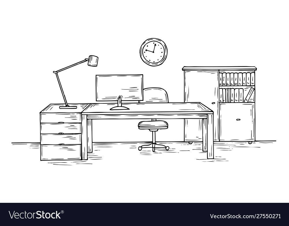 Hand Drawn Office Sketch Desk With Chair Computer And Lamp Home Officer Room I Chai In 2020 House Sketch How To Draw Hands Computers Tablets And Accessories