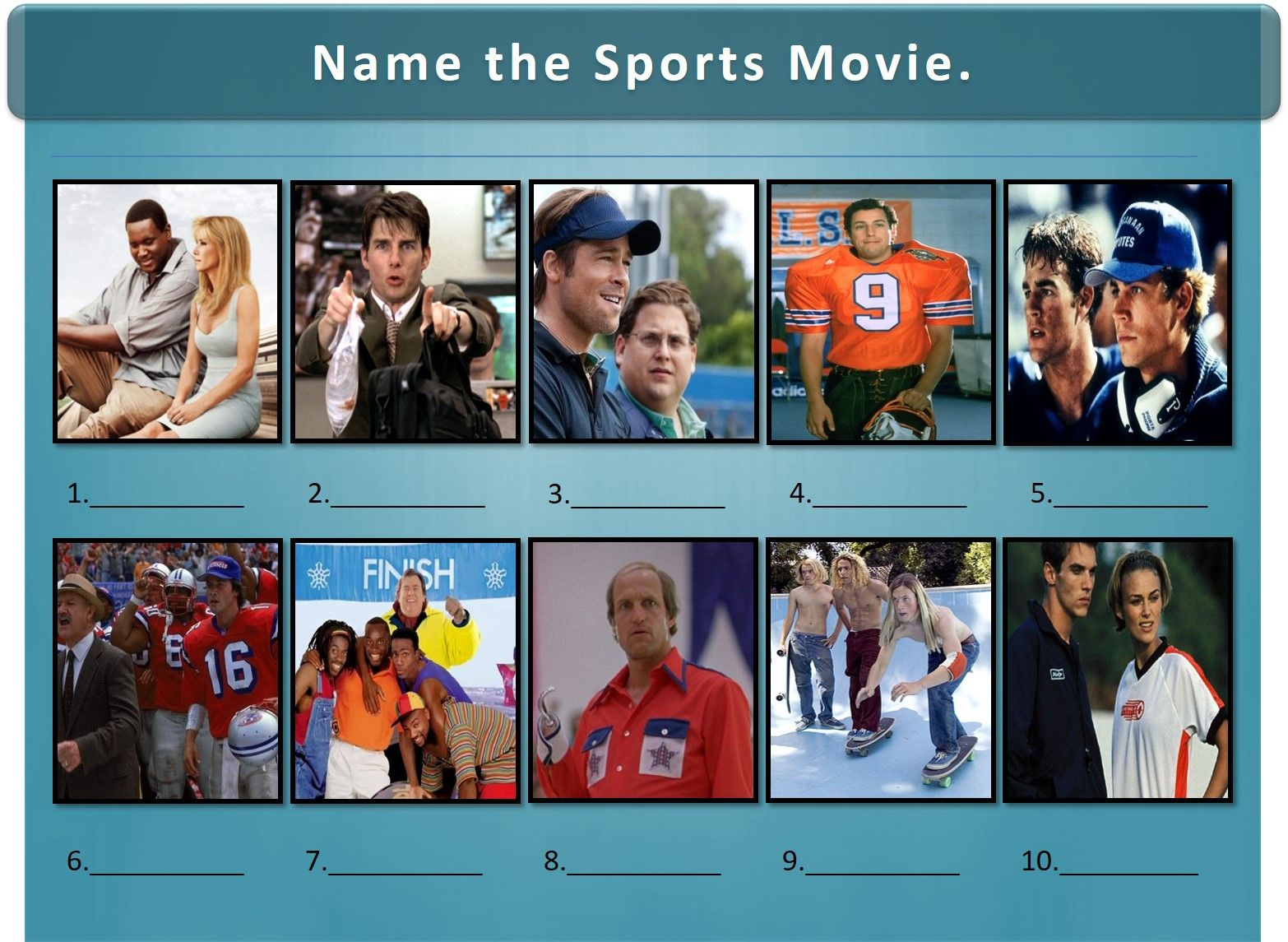 Sports Movies Trivia Picture Round Sports Movies Quiz Picture Round Trivia Night Questions Sports Movie Movie Facts