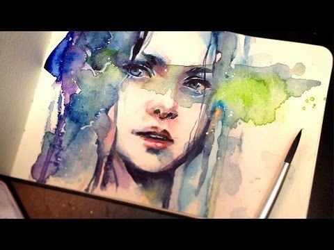 Portrait Painting Of A Girl In Watercolor Full Length
