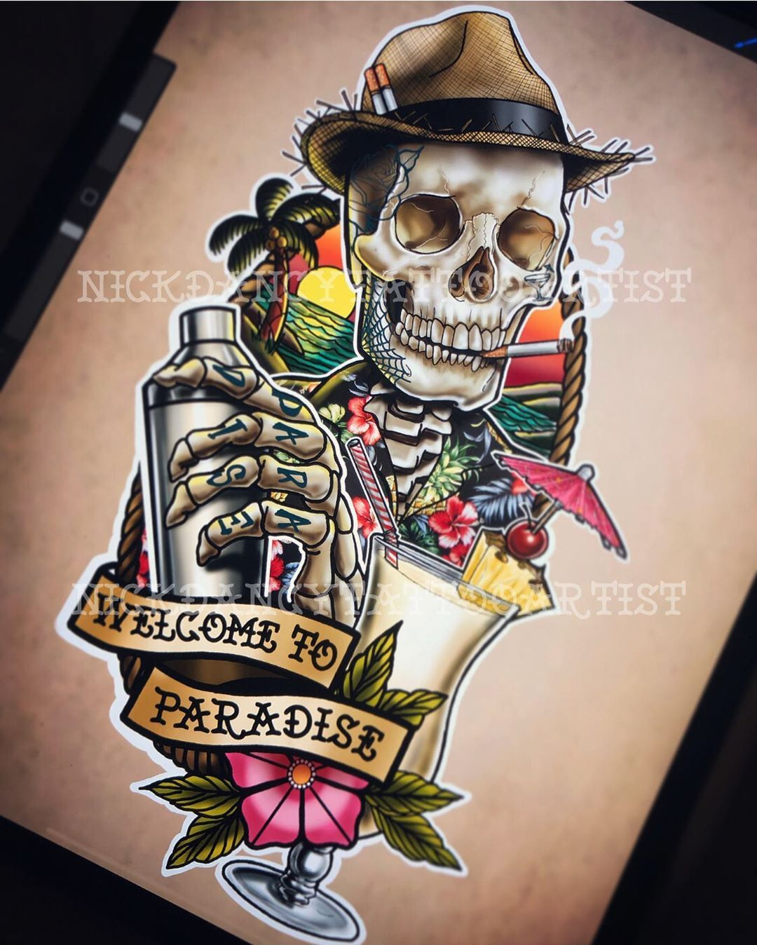 Special Offer 3500kr It S Saturday Night And I Only Got One More Night In Paradise S Old School Tattoo Designs Traditional Tattoo Design Traditional Tattoo