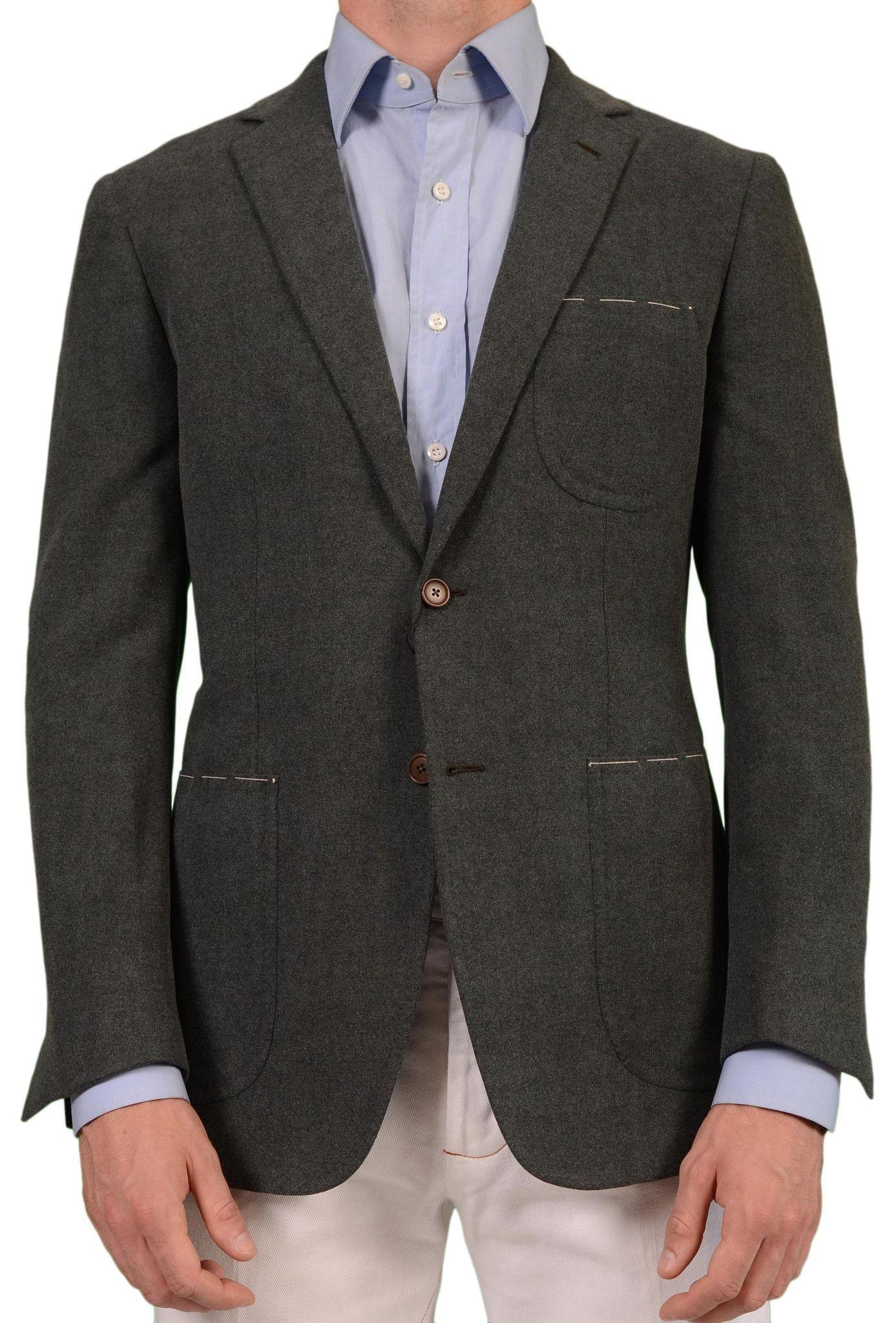 Wool cashmere flannel jacket  Sartoria PARTENOPEA Hand Made Green WoolCashmere Flannel Jacket