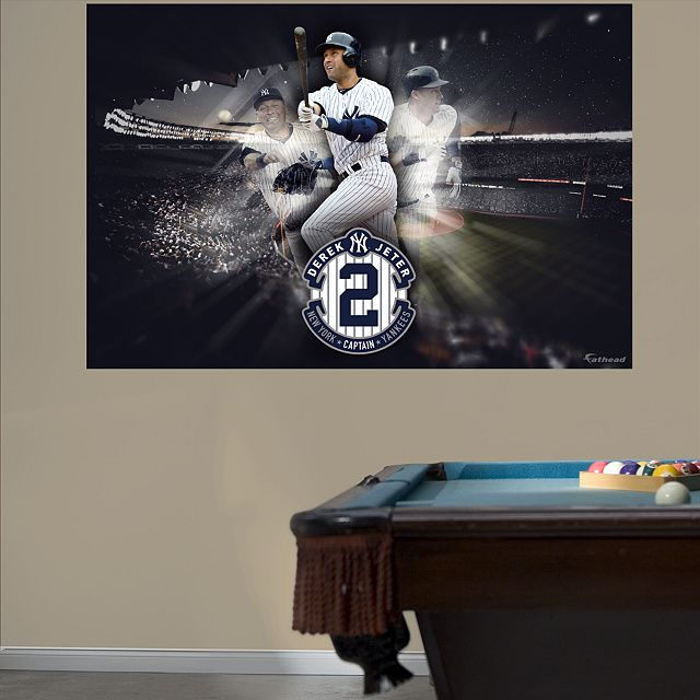 Derek Jeter Legacy Mural Wall Graphic New York Yankees Decal Sports Décor Baseball Bedroom Man Cave Nursery