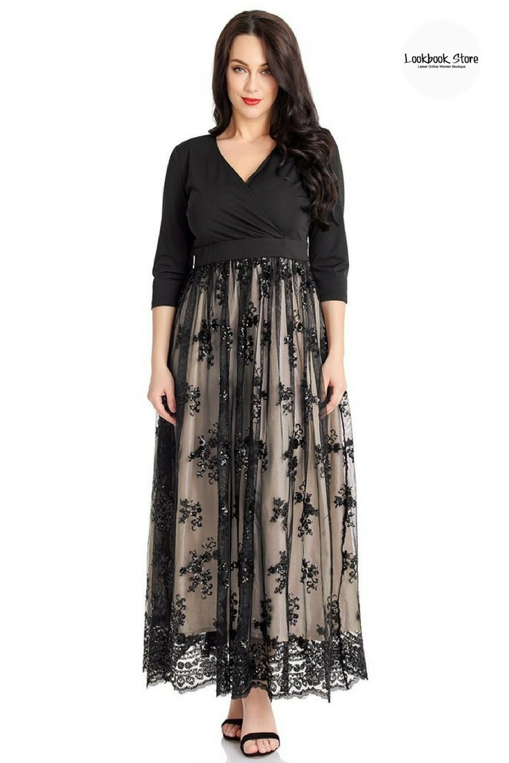 Black dress occasional midi pencil with 3/4 sleeves with