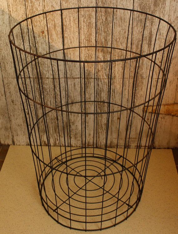 Reserved For Geoffrey Wire Metal Laundry Basket Vintage Storage