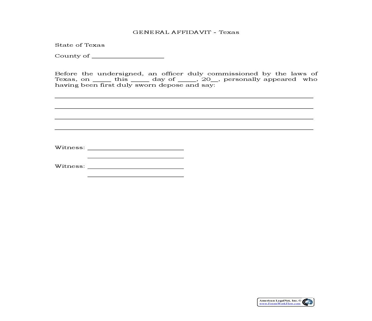 Affidavit Template Statement Template Word Template Sample Resume
