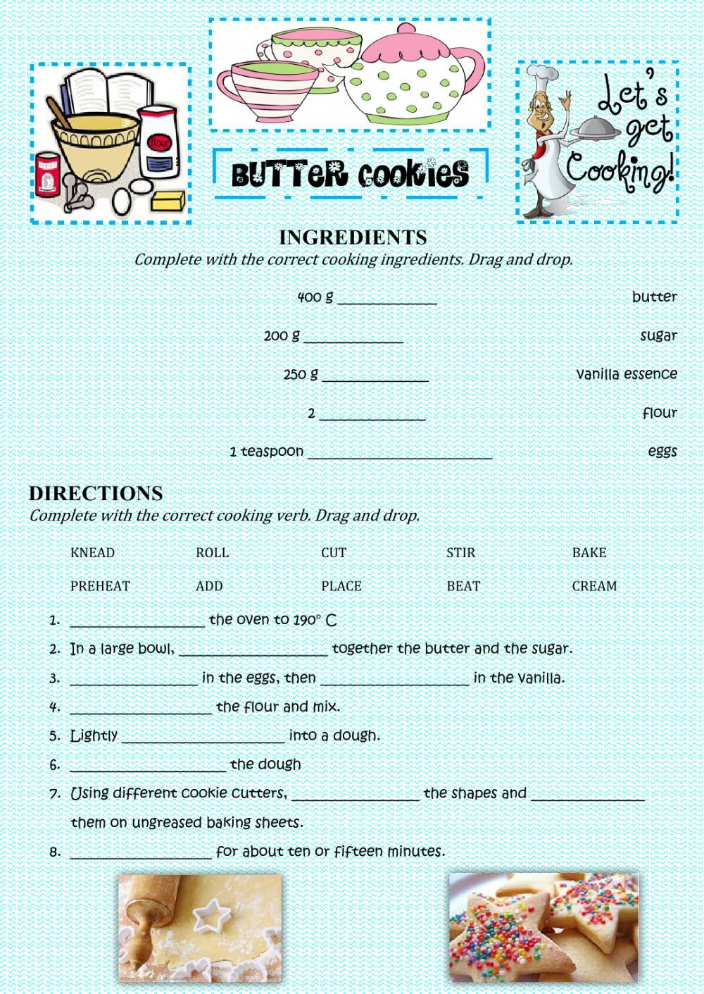 Recipes Interactive And Downloadable Worksheet You Can Do The Exercises Online Or Download The Wor English Worksheets For Kids Culinary Classes Butter Cookies [ 1411 x 1000 Pixel ]