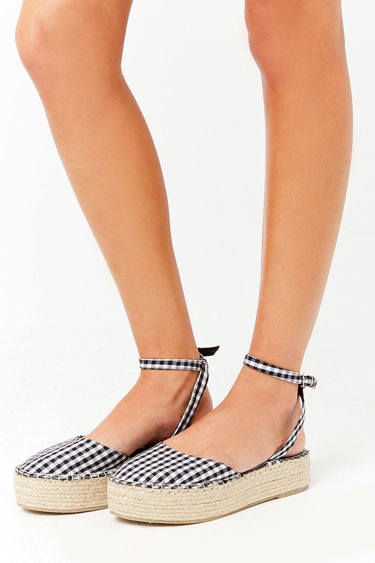 5196833295b2 Gingham Espadrille Flatform Sandals