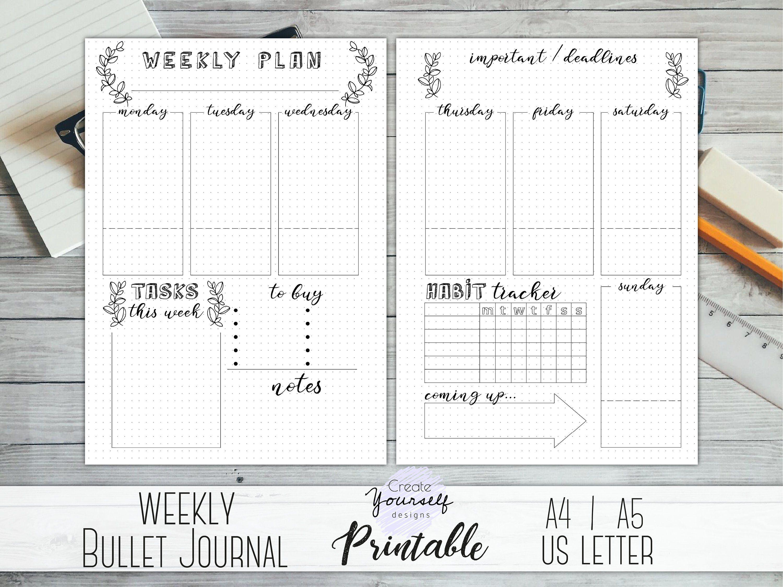 Bullet Journal Stickers Week numbers 53 weeks Bullet Journal Essentials Planner Stickers