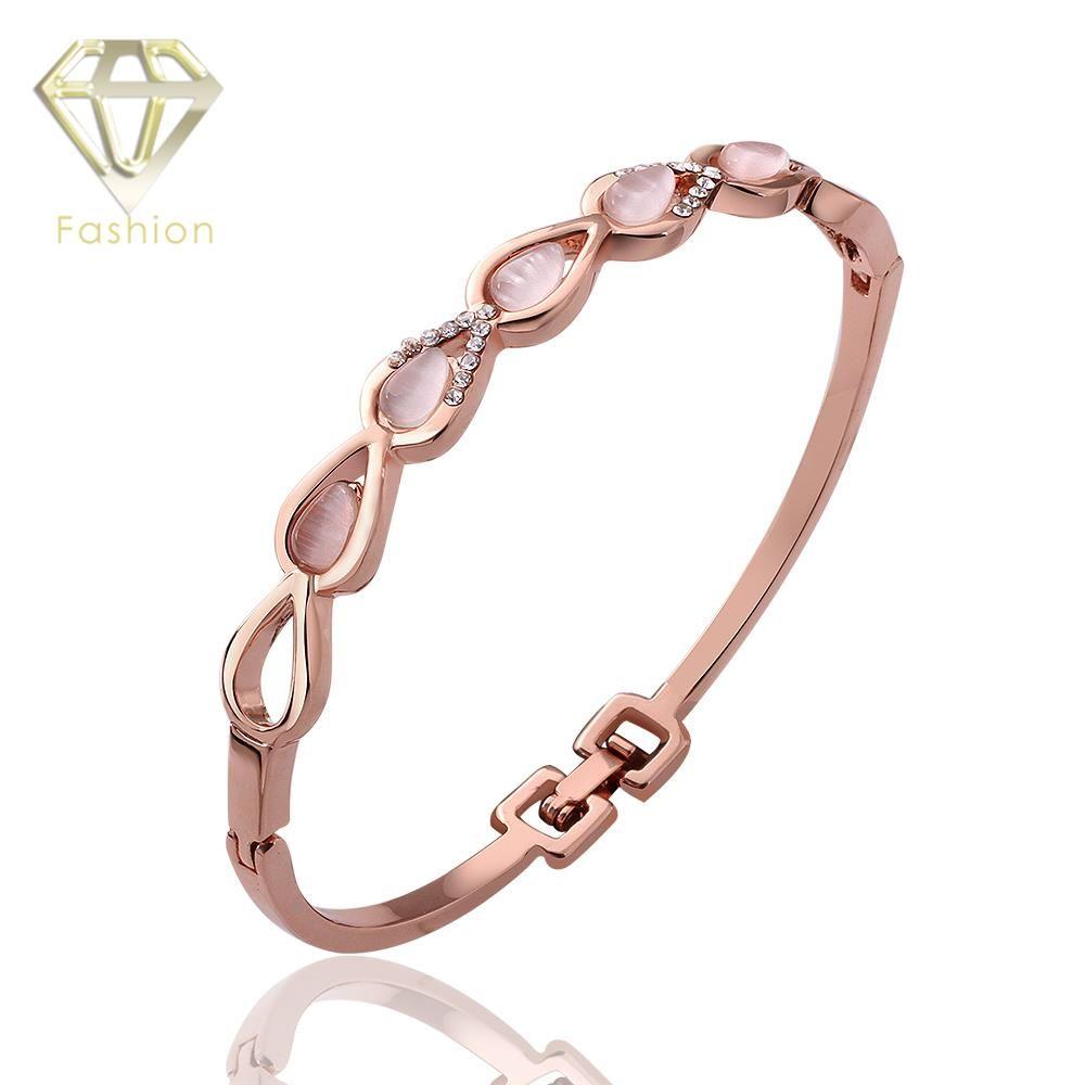 New brand opal stone water drop bracelet bangle jewelry rose gold