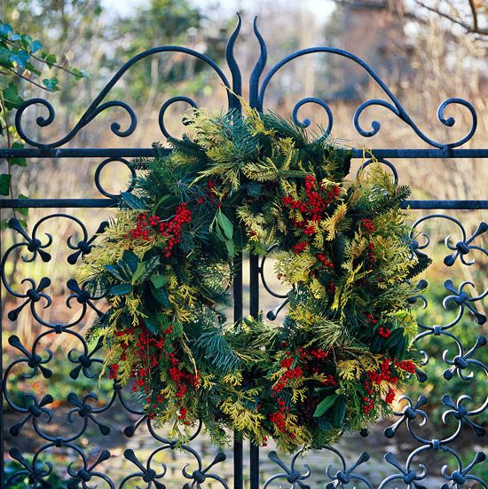 Wreath Against The Wrought Iron Gate
