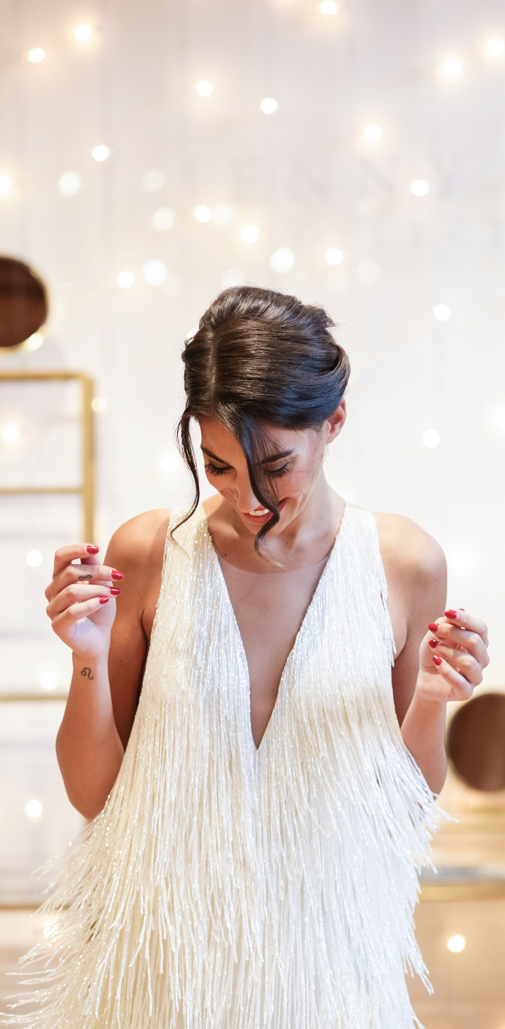 Sparkling Goddess Introducing The Etra By Jenny Yoo Featuring Delicate Beaded Fringe Th Rehearsal Dress Vintage Wedding Dress 1920s Rehearsal Dinner Dresses [ 3589 x 1760 Pixel ]