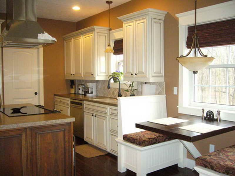 Kitchen Color Ideas White Cabinets With Wooden Floor With Brown Wall Jpg 800 599 Glazed Kitchen Cabinets Kitchen Color Ideas White Cabinets Kitchen Colors