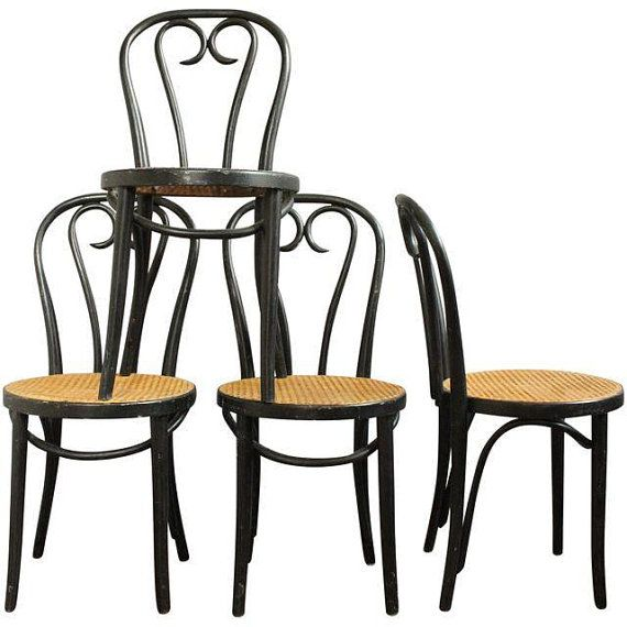 Genuine Thonet A16 Style Bentwood Cafe Chairs Heart Shaped Back Cane Seat