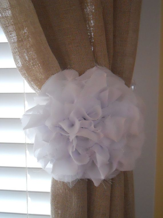 Shabby Chic White Chiffon Flower Curtain by littlepretties1, $16.00