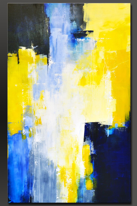 Cielo azul 48 x 30 abstracto acrílico pintura moderno de | Lienzo ...