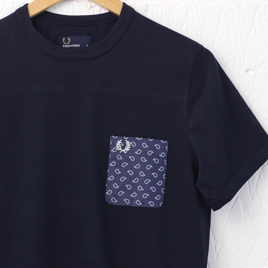 a6d1d7fc5 Fred Perry Drakes Paisley Print Pocket T-Shirt (Navy) – New-Entry Clothing   fredperry  paisley  drakes  tee  menswear