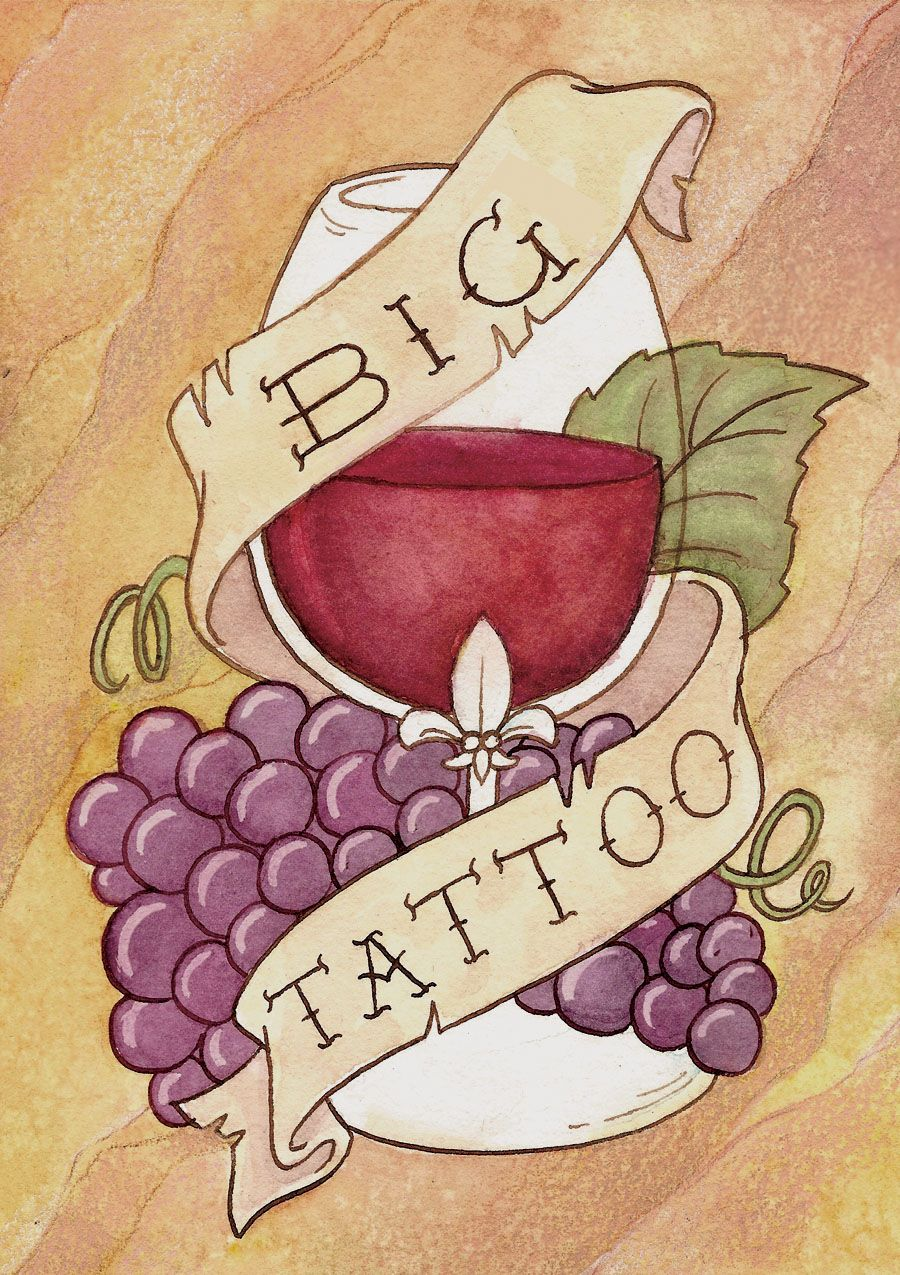 Big Tattoo Wine Label By Lauradollie On Deviantart Wine Logo Wine Glass Tattoo Wine Logo Design