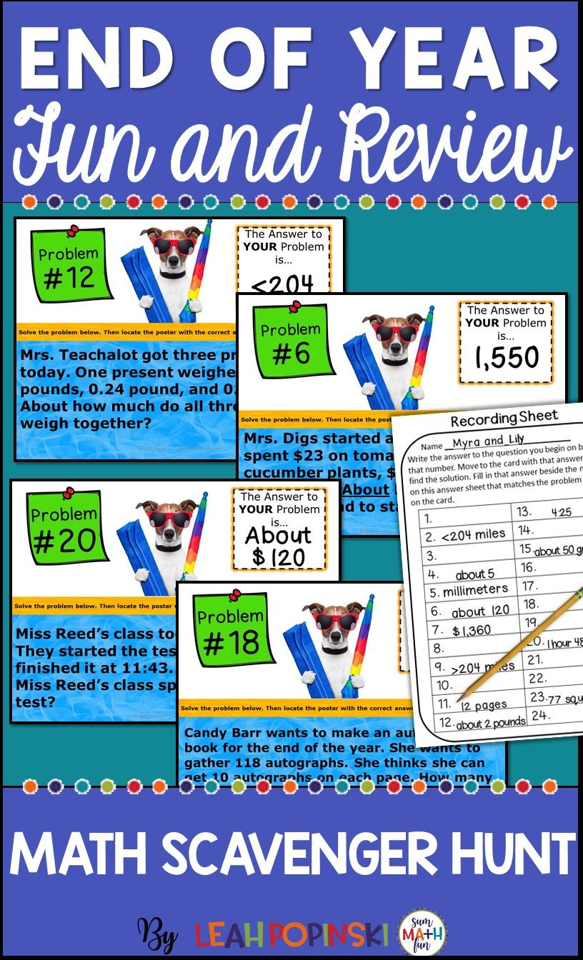 End of the Year Activities: Third Grade Math Word Problems Scavenger ...